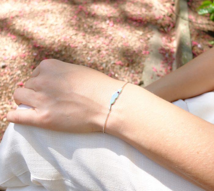 Bracelet feuille rubis