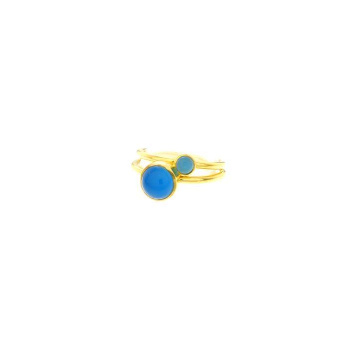 bague agate bleu